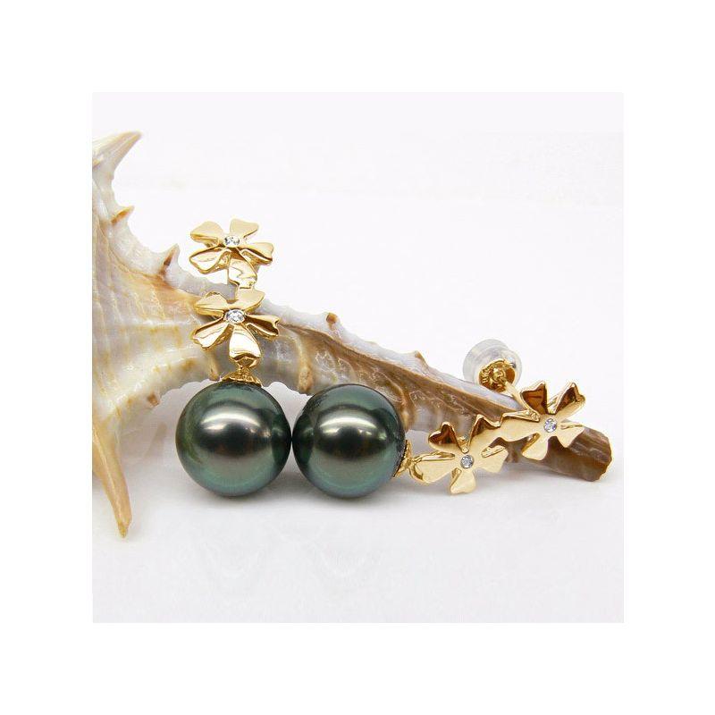 Orecchini fiori - Pendenti oro giallo - Perle di Tahiti nere, blu, verdi - 9/10mm