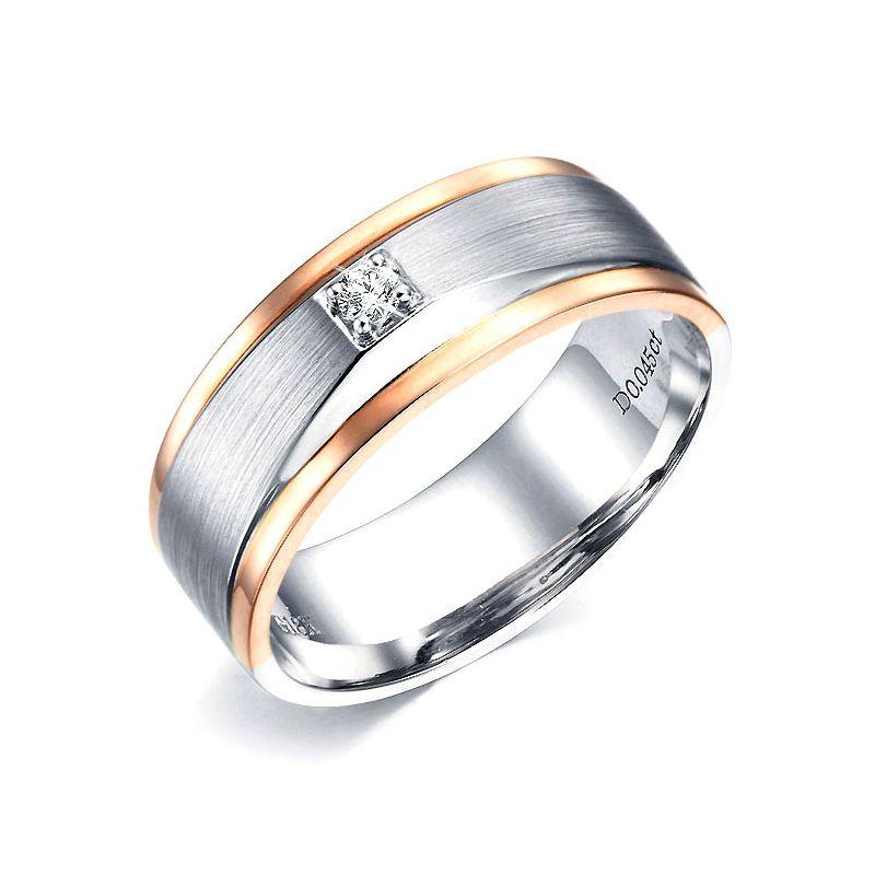 Anello Uomo - Due Ori 7.02gr - Diamanti 0.045ct