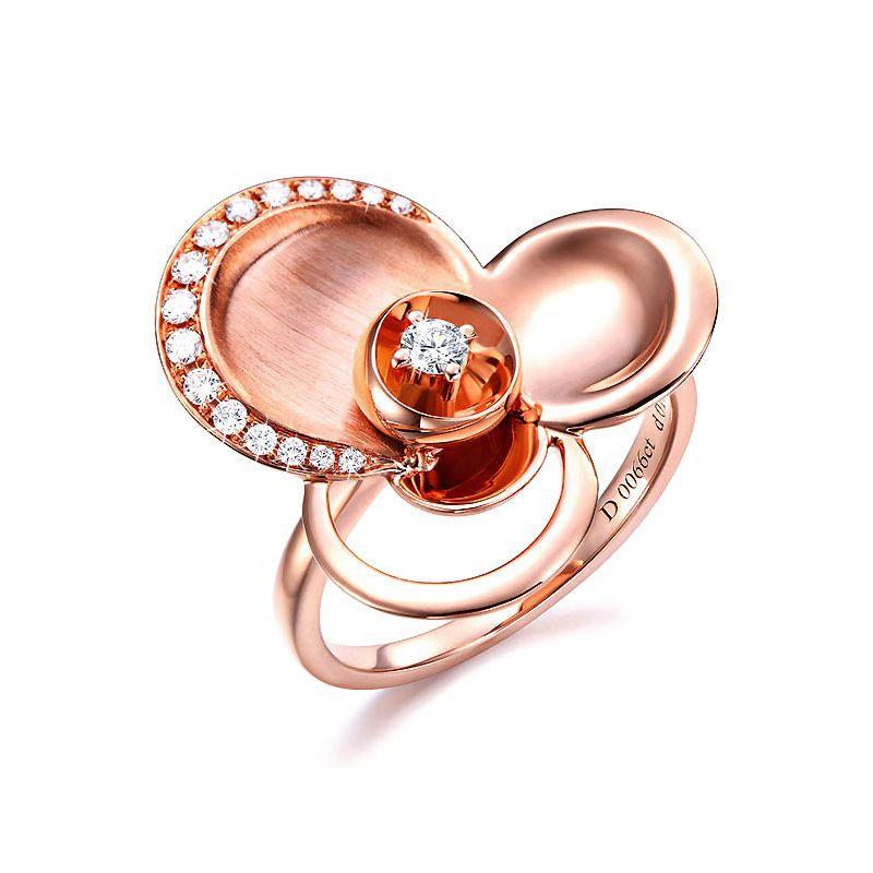 Anello Donna - Oro rosa 6.98gr - Diamanti 0.216ct