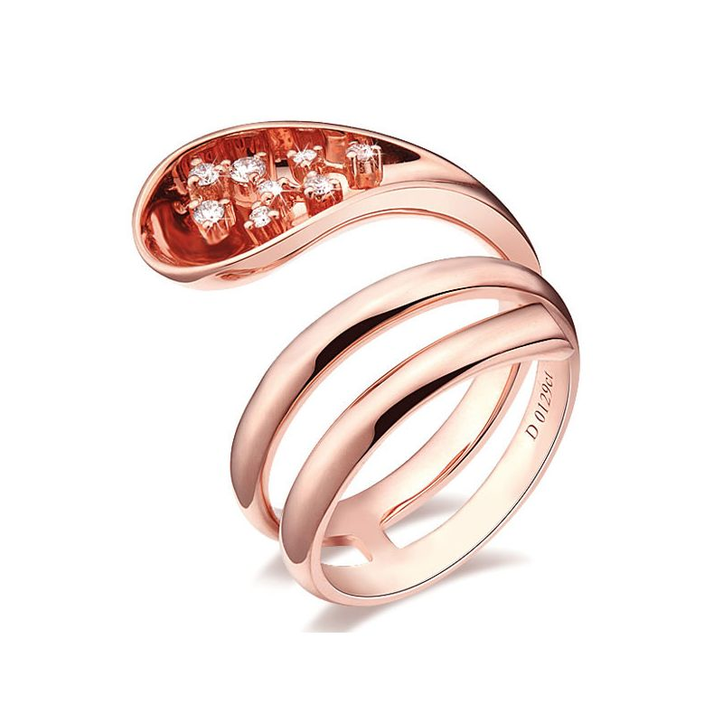 Anello Donna - Oro rosa 9.30gr - Diamanti 0.129ct
