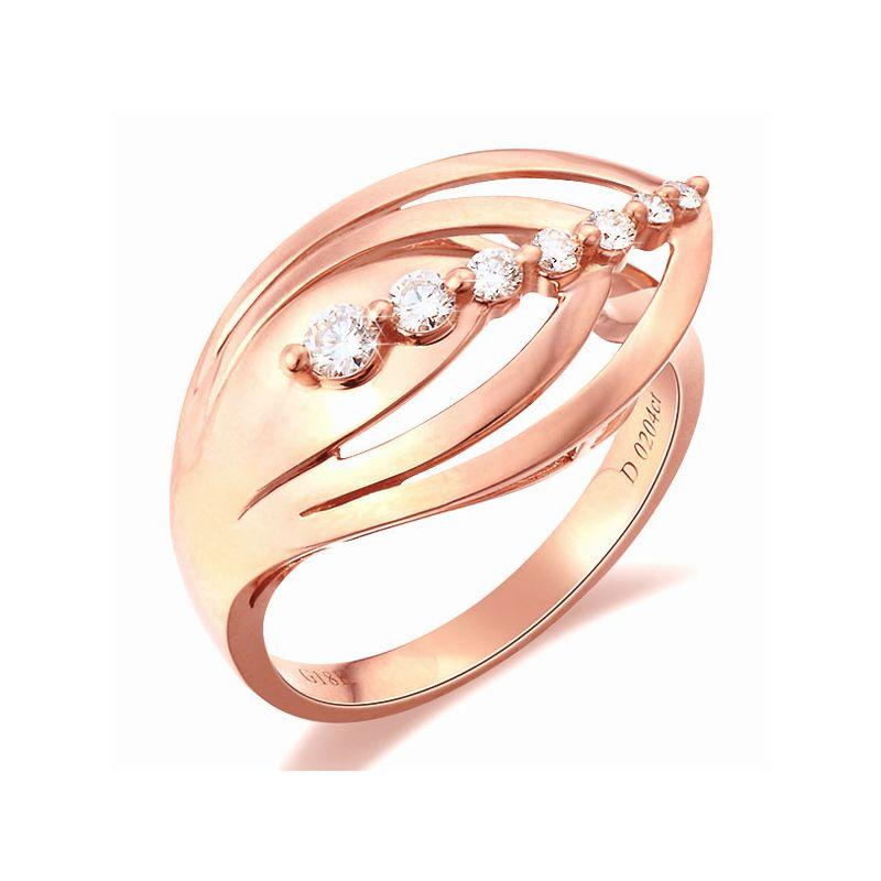 Anello Donna - Oro rosa 3.75gr - Diamanti 0.204ct