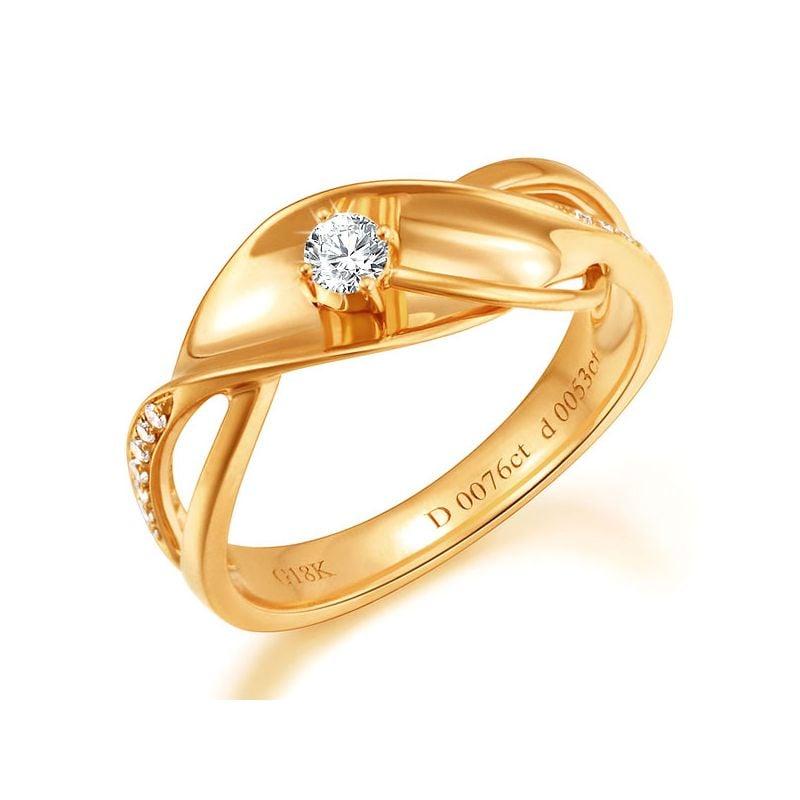 Anello Donna - Oro giallo 3.50gr - Diamanti 0.129ct