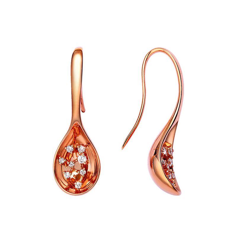 Orecchini - Oro rosa 6.15gr - Diamanti 0.230ct