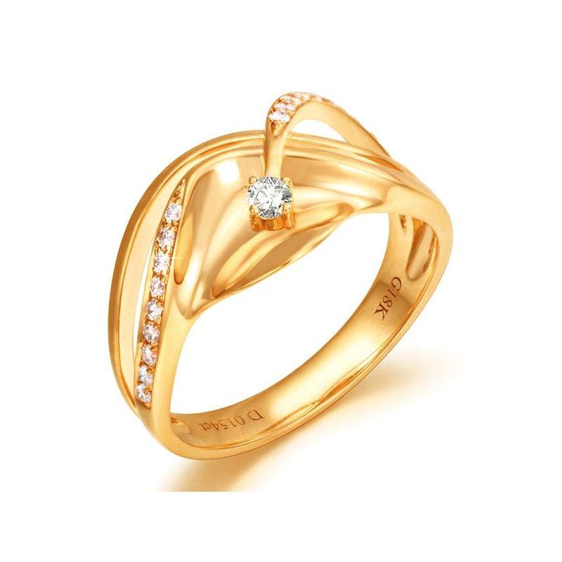 Anello Donna - Oro giallo 3.95gr - Diamanti 0.154ct