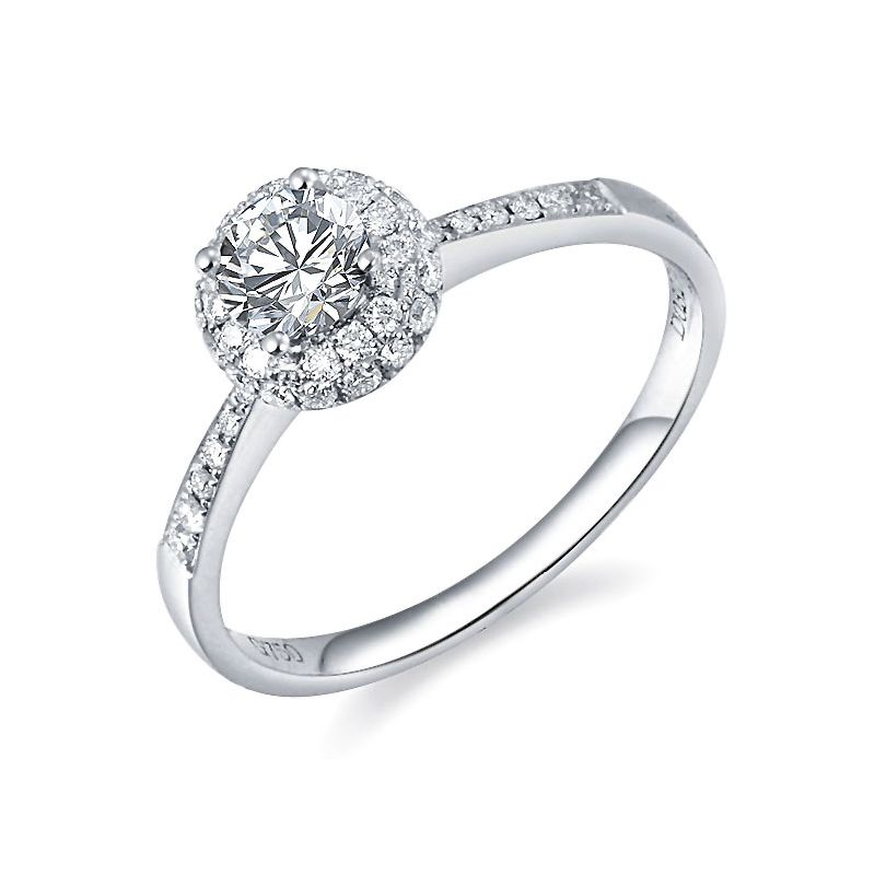 Anello solitario - Oro bianco 2.30gr - Diamanti 0.580ct