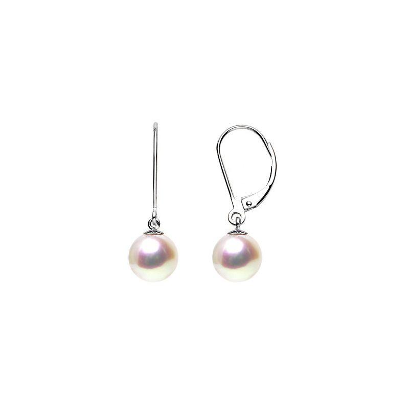 Orecchini perle acqua dolce bianche. Monachella oro bianco - 8/9mm. AAA