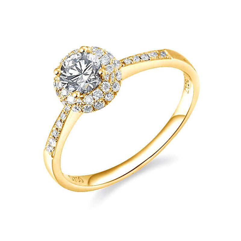 Anello solitario - Oro giallo 2.30gr - Diamanti 0.580ct
