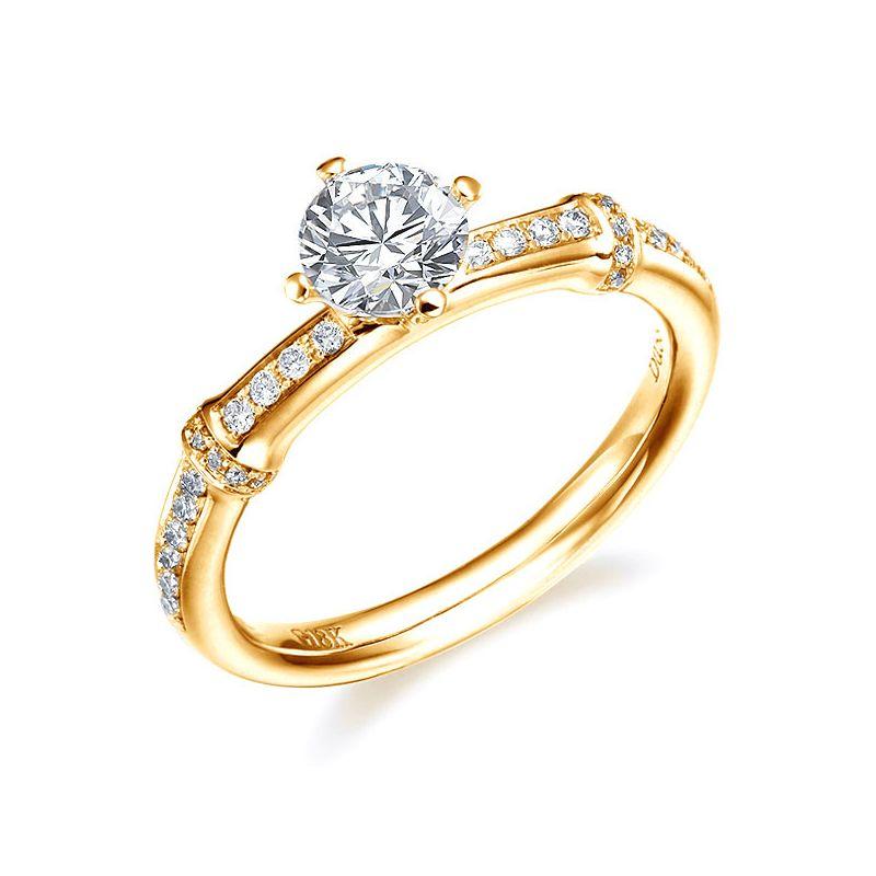 Anello solitario - Oro giallo 2.50gr - Diamanti 0.500ct