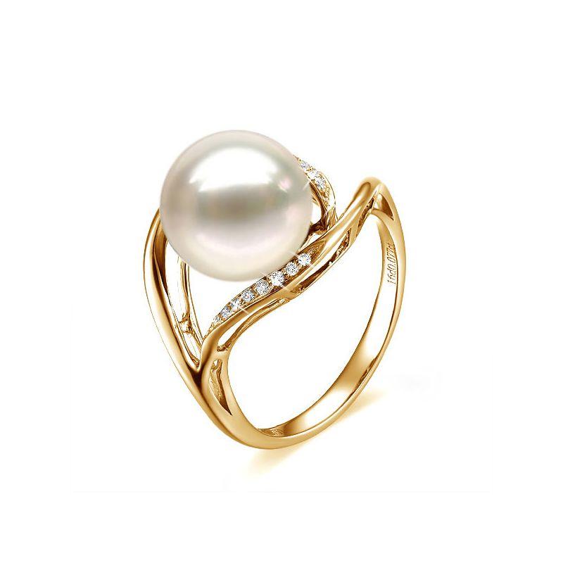 Anello moderno oro giallo - Perla acqua dolce bianca - 10/11mm