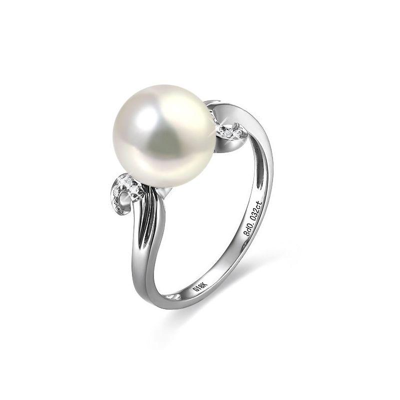 Anello musicale oro bianco - Perla acqua dolce bianca - 9/10mm