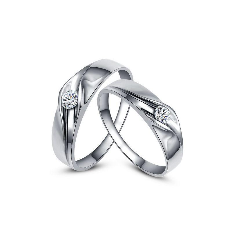 Fedi matrimonio, Fedine -  Oro bianco 6.70gr, Diamanti 0.170ct