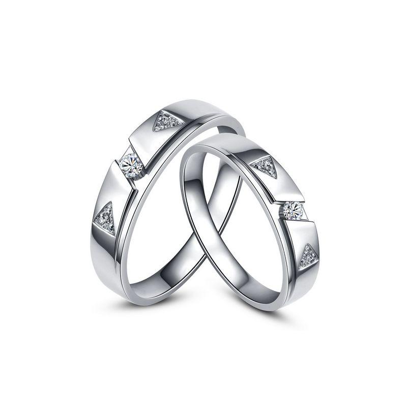 Fedi matrimonio, Fedine -  Oro bianco 6.96gr, Diamanti 0.127ct