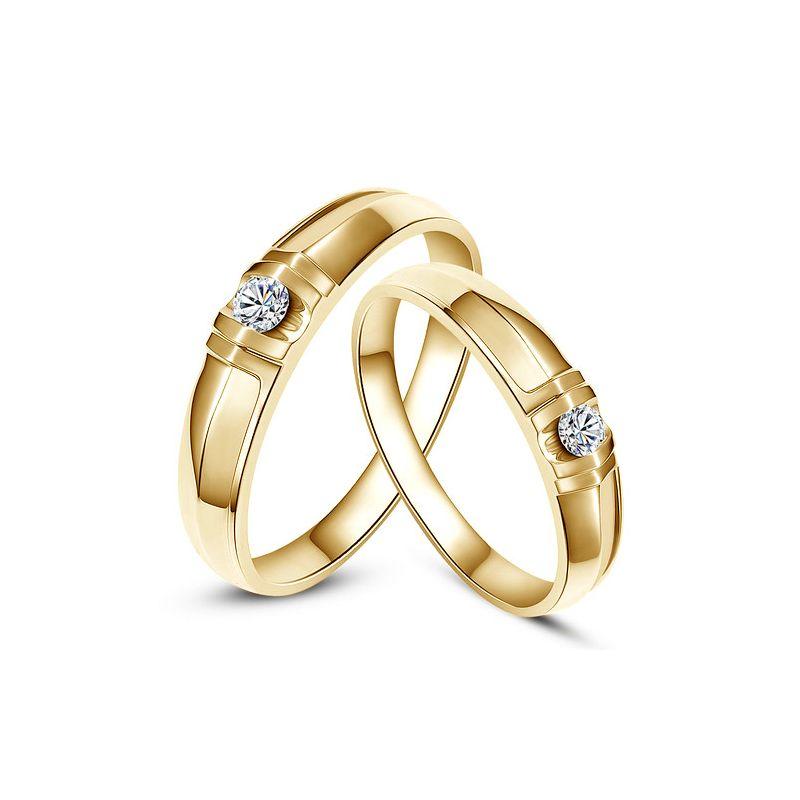 Fedi matrimonio, Fedine -  Oro giallo 6.31gr, Diamanti 0.139ct