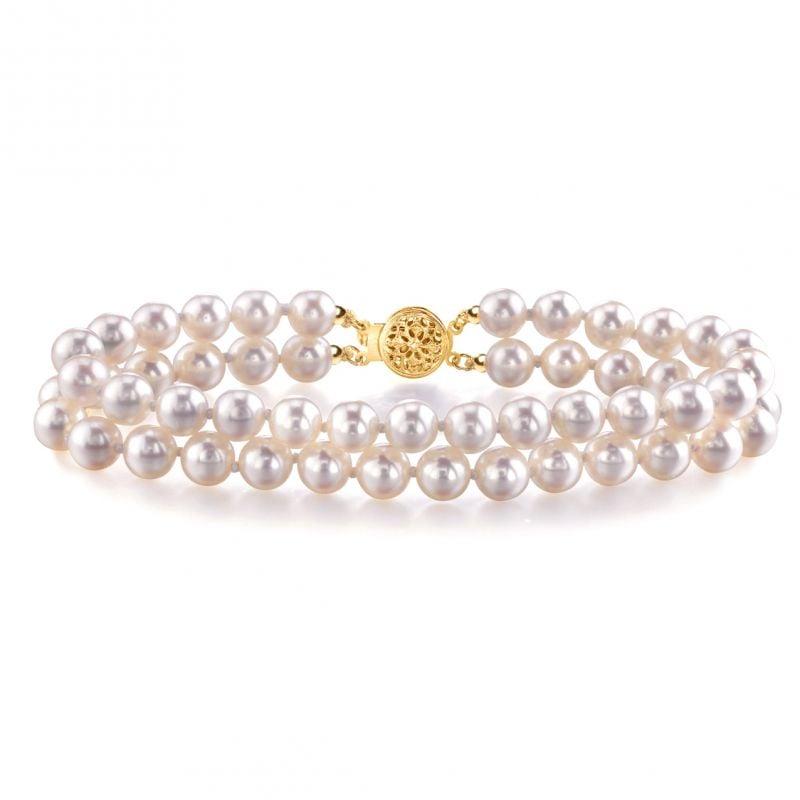 Braccialetto due fili - Perle di coltura Giappone - Perle Akoya 5.5/6mm