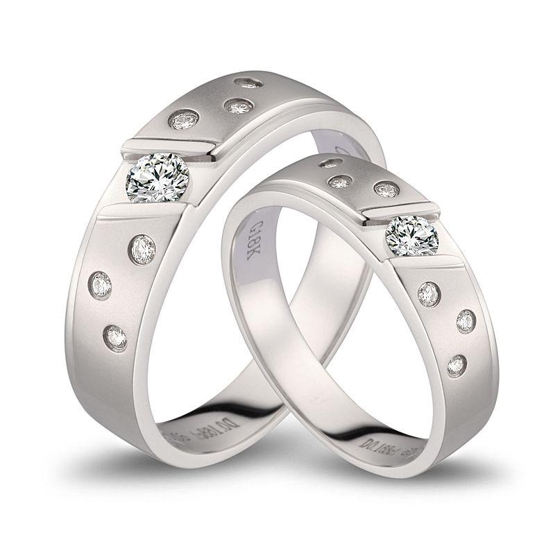 Fedi matrimonio, Fedine -  Oro bianco 10.3gr, Diamanti 0.360ct