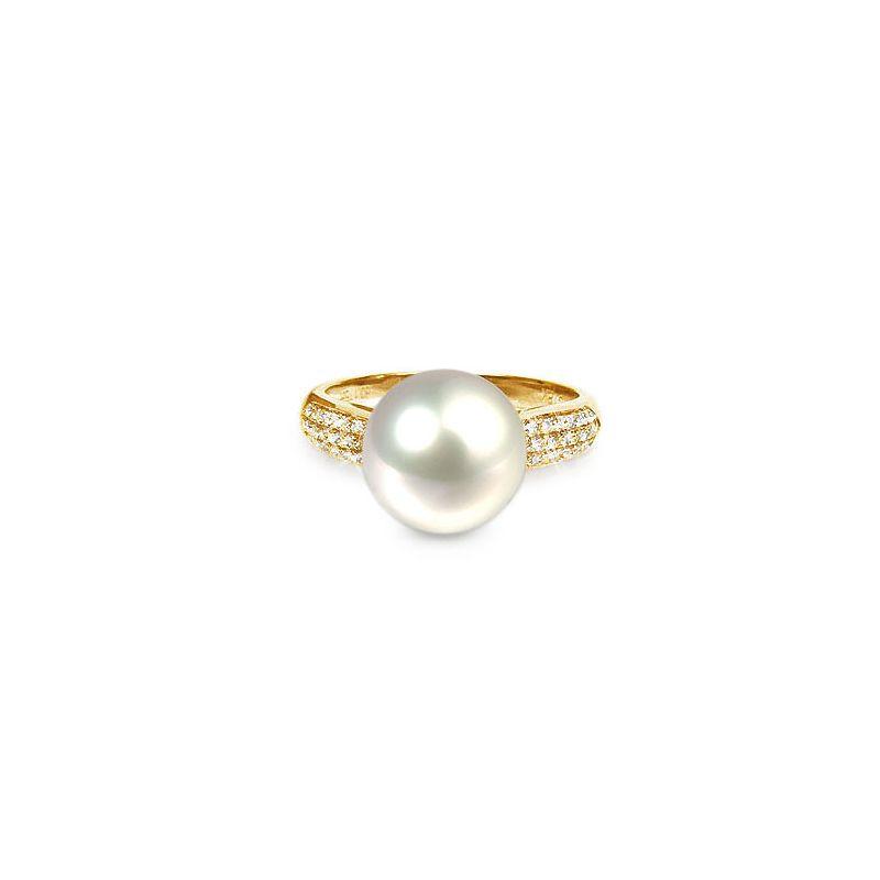 Anello classico oro giallo, diamanti - Perla acqua dolce bianca - 10/11mm