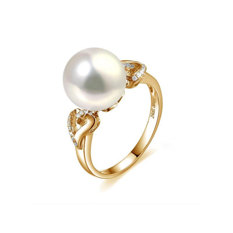 Anello cuori oro giallo - Perla acqua dolce bianca - 10/11mm