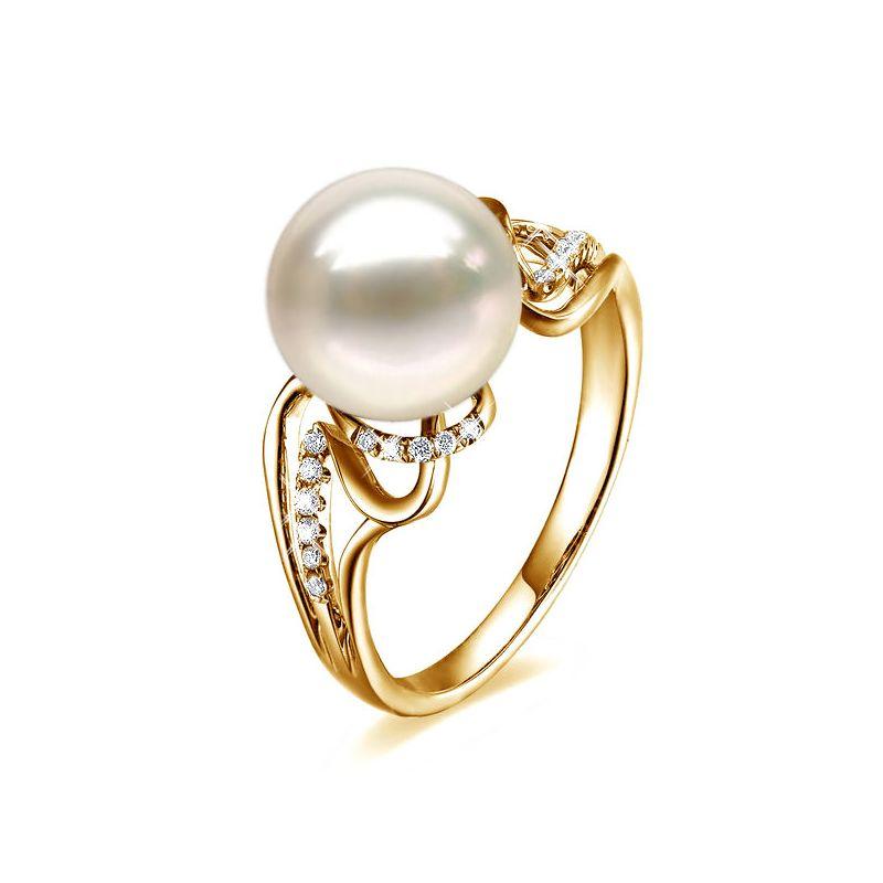 Anello lusso oro giallo - Perla acqua dolce bianca - Diamanti