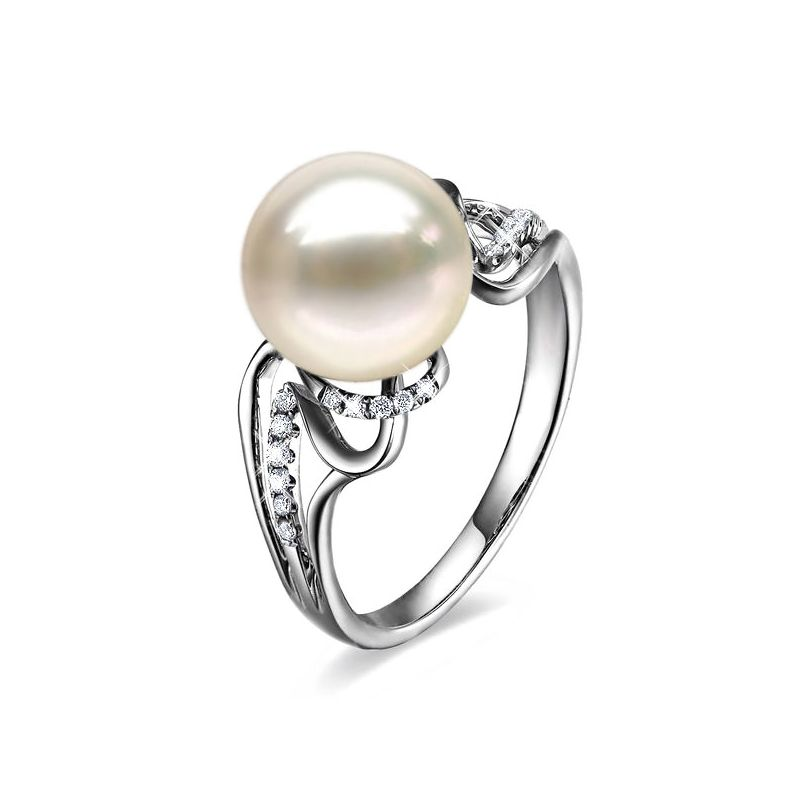 Anello lusso oro bianco - Perla acqua dolce bianca - Diamanti