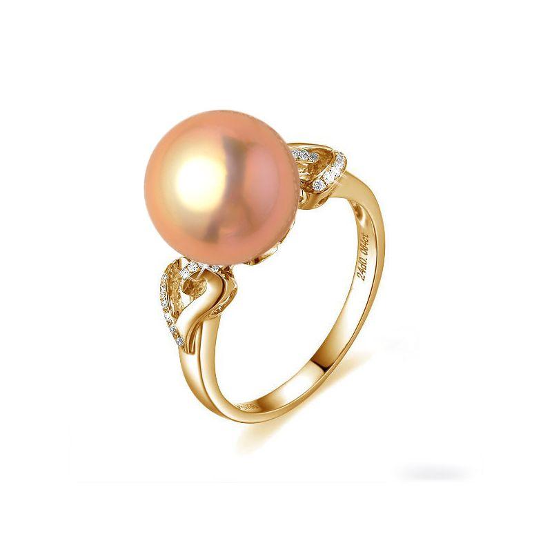 Anello cuori oro giallo - Perla acqua dolce rosa - 10/11mm