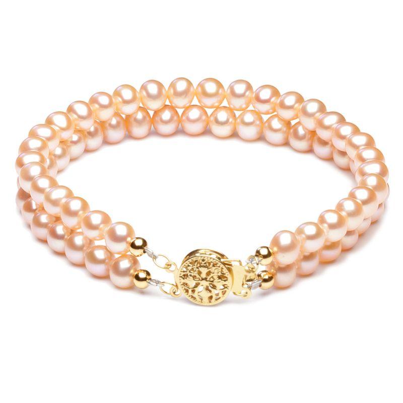 Braccialetto due fili perle d'acqua dolce rosa - 5/5.5mm, AA+