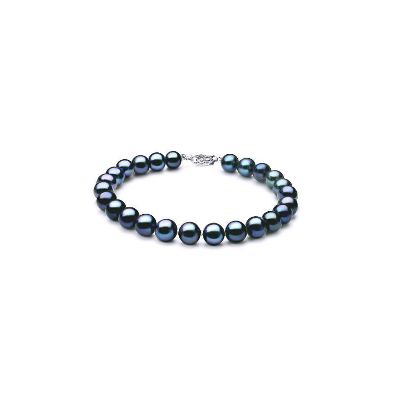 Braccialetto perle d'acqua dolce nere - 7/7.5mm, AAA