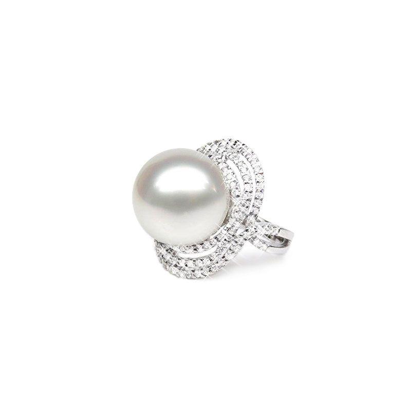 Anello oro bianco - Perla d'Australia bianca - 14/14.5mm