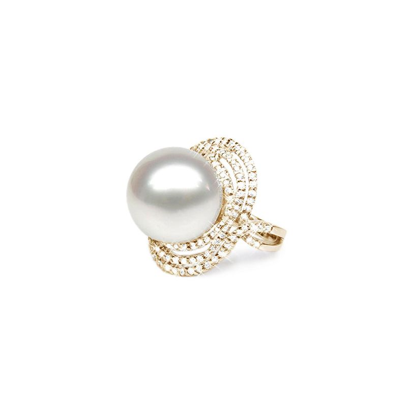 Anello oro giallo - Perla d'Australia bianca - 14/14.5mm
