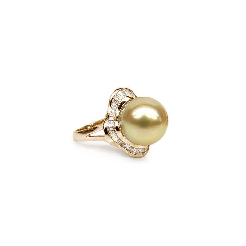 Anello classico oro giallo - Perla d'Australia dorata - 11/12mm