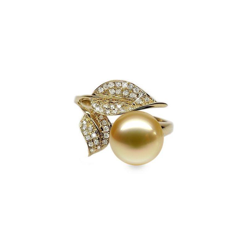 Anello foglie oro giallo, diamanti - Perla d'Australia dorata - 10.5/11.5mm
