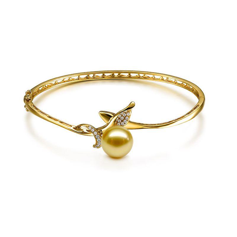 Bracciale rigido goccia oro giallo - Perla d'Australia dorata - 10/11mm