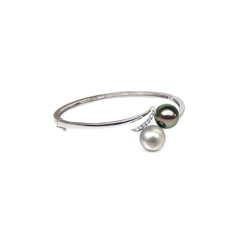 Bracciale rigido oro bianco - Perle dei Mari del Sud - 9/9.8mm