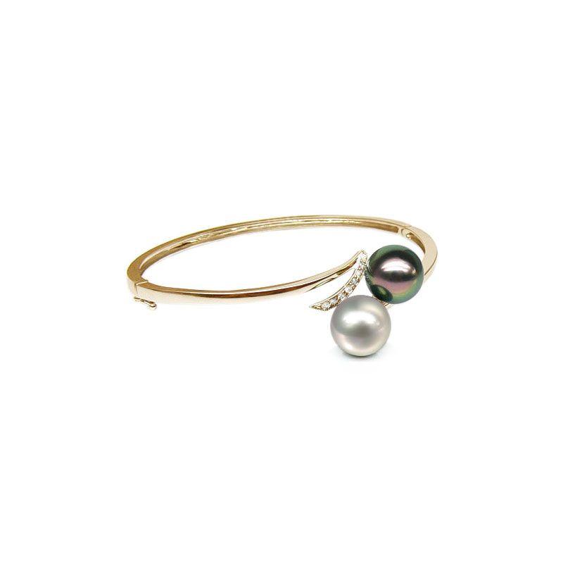 Bracciale rigido oro giallo - Perle dei Mari del Sud - 9/9.8mm