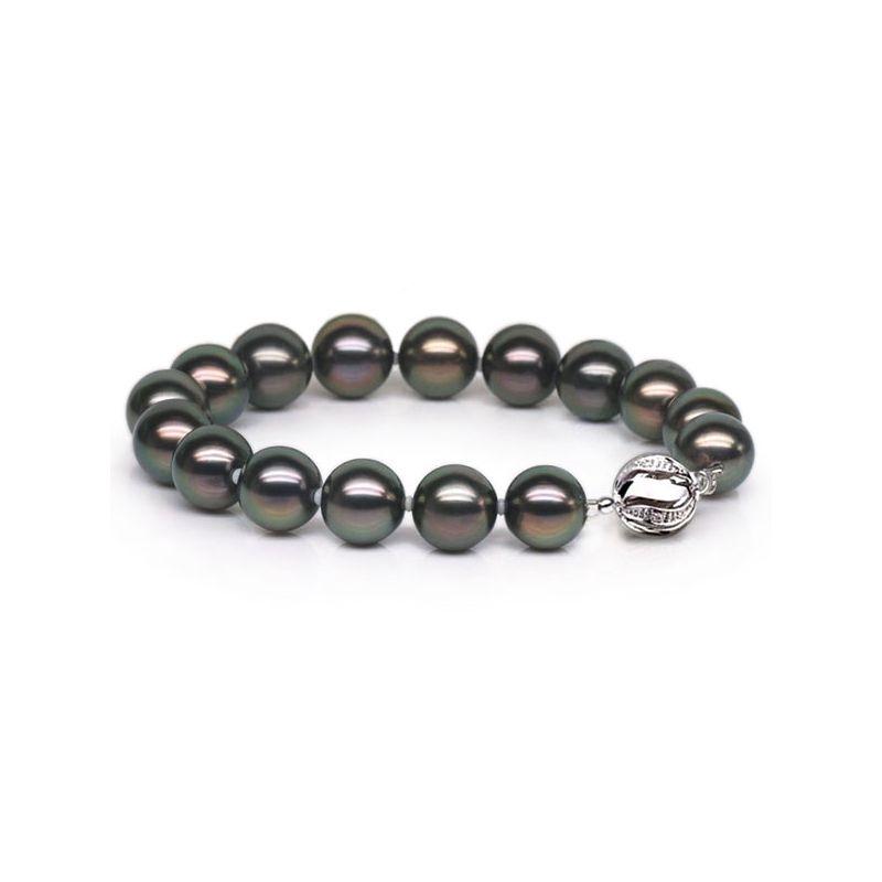 Braccialetto - Perle di Tahiti nere, pavone - 9/10mm