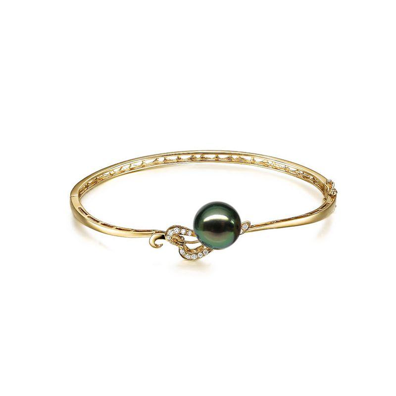Bracciale rigido oro giallo - Perla di Tahiti nera, pavone, verde - 10/11mm