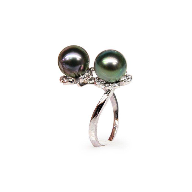 Anello oro bianco - Perle di Tahiti nere, verde, melanzana - 9/9.5mm