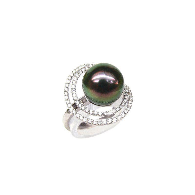 Anello Polinesia oro bianco - Perla di Tahiti nera, pavone - 10.5/11mm