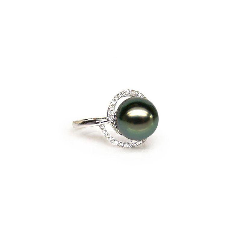 Anello oro bianco - Perla di Tahiti nera, verde - 9/10mm