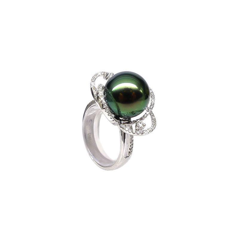 Anello Polinesia oro bianco - Perla di Tahiti nera, verde - 11/12mm