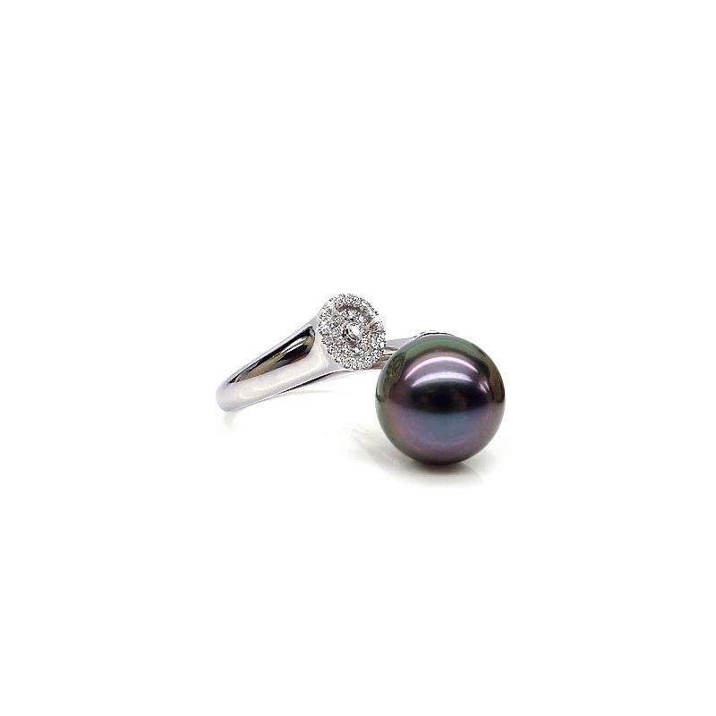 Anello oro bianco - Perla di Tahiti nera, melanzana - 11/12mm