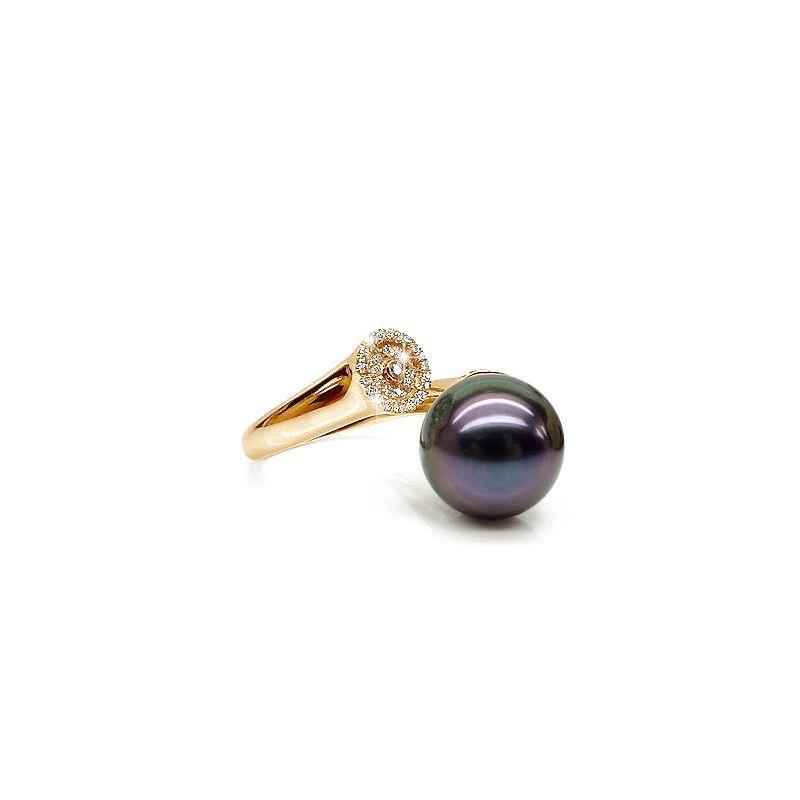 Anello oro giallo - Perla di Tahiti nera, melanzana - 11/12mm