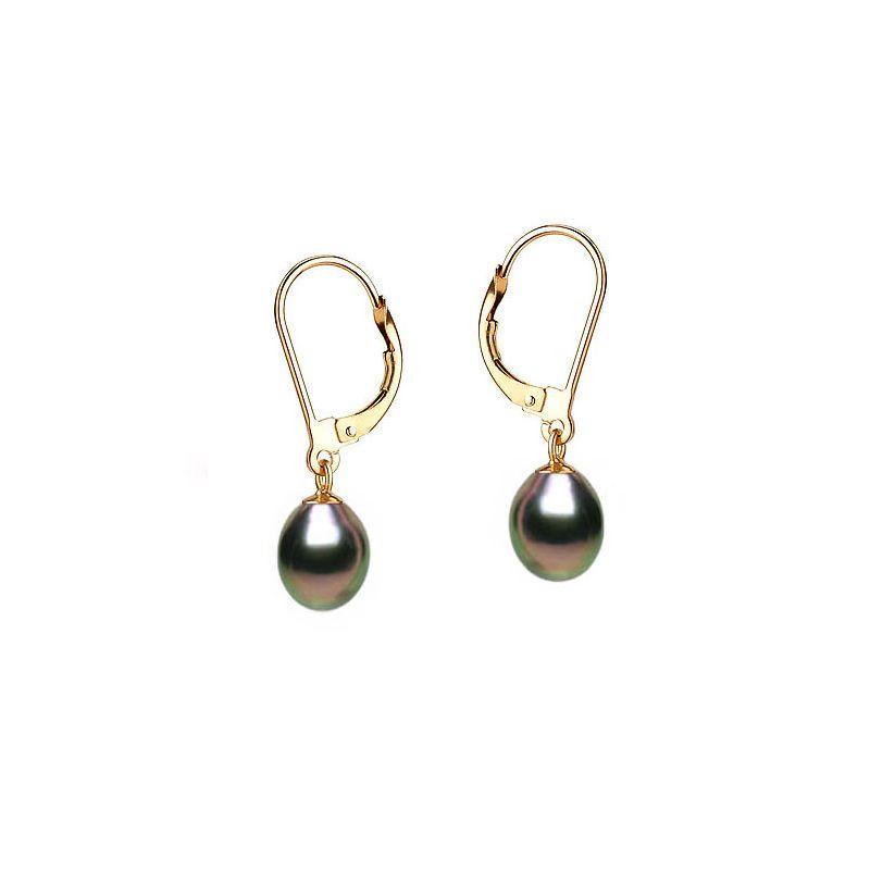 Orecchini perle acqua dolce nere. Monachella oro giallo - 8/9mm. AA+