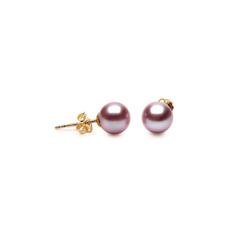 Orecchini perle acqua dolce lavanda. Farfallina oro giallo - 8/9mm. AAA