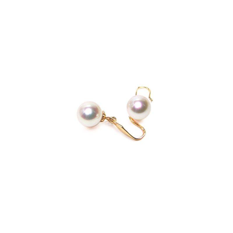 Orecchini perle acqua dolce bianche. Gancio oro giallo - 8/9mm. AAA