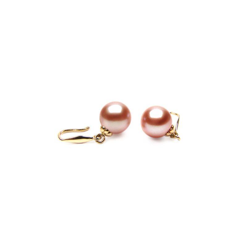 Orecchini perle acqua dolce rosa. Gancio oro giallo - 8/9mm. AAA