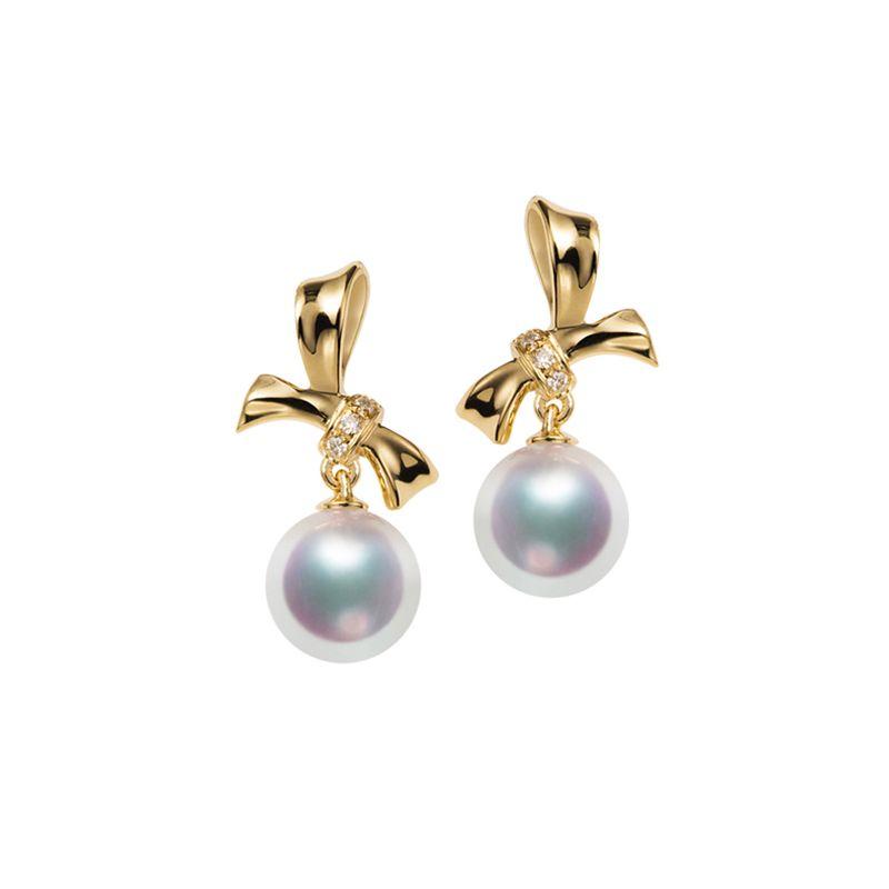Orecchini perle Akoya bianche. Oro giallo, diamanti. Fiocco