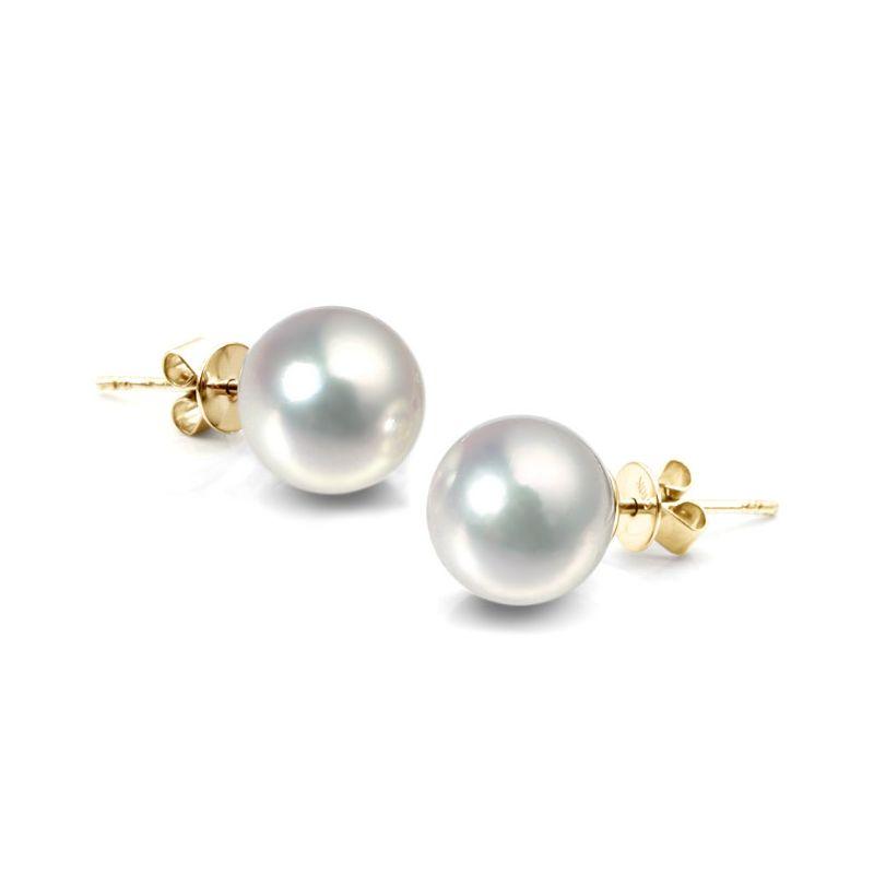 Orecchini perle Akoya bianche. Farfallina oro giallo - 8/8.5mm. AAA