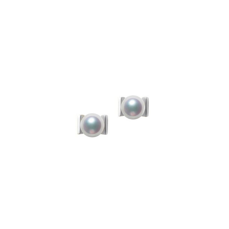 Orecchini Quadrati Oro Bianco e perle Akoya dal Giappone