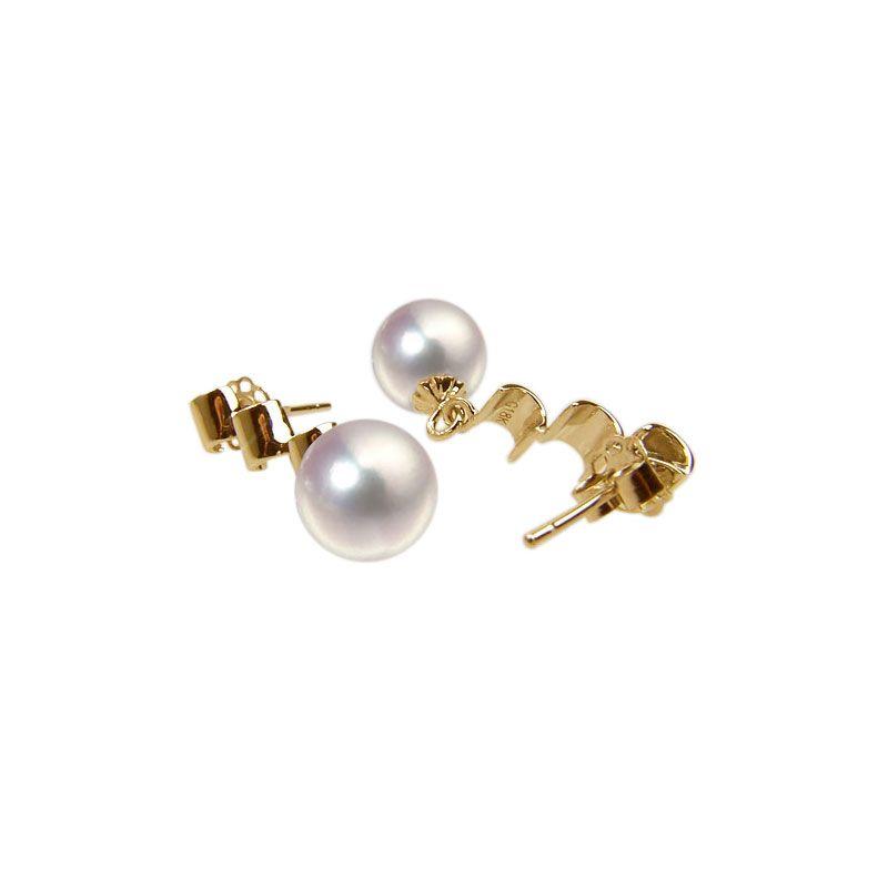 Orecchini perle Akoya bianche. Pendenti oro giallo - 7/7.5mm. GEMMA