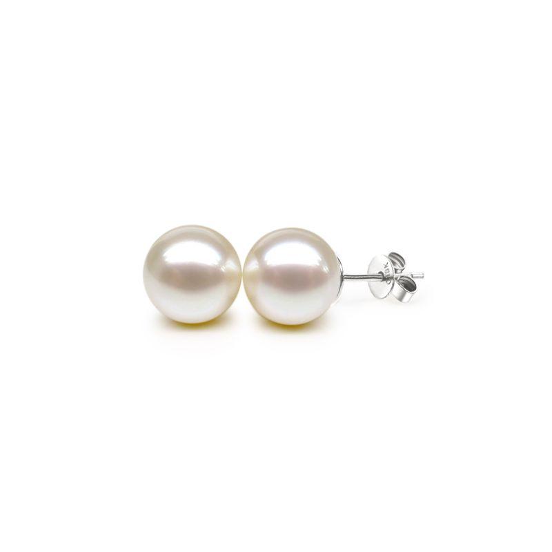 Orecchini perle bianche d'acqua dolce. Farfallina oro bianco - 9/9.5mm. AAA